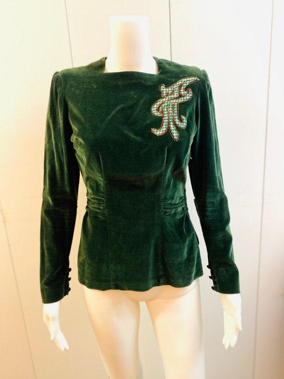 1940s New York Creations Green Velvet Top