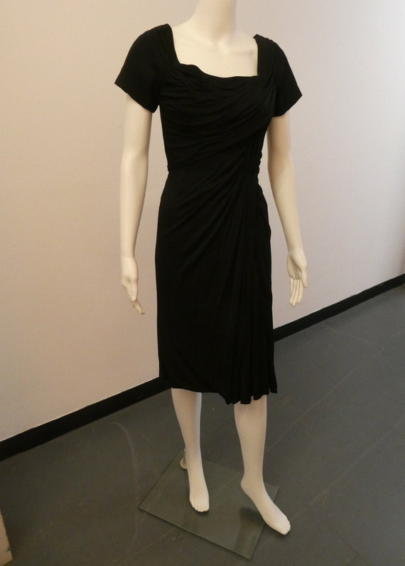 1950'S CEIL CHAPMAN Black Wiggle Dress