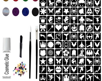 755565e88c1f1 Glitter Tattoo Kit 25 - 96 Large Stencils Princess   Super Hero 8 Glitter  Pots 3 Brushes 100 Rhinestones Cosmetic Glue