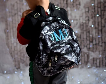 Personalized Mini Toddler Backpack - Tiny Baby Bag - Embroidered with Name  or Initials - Grey Gray and White Marble Galaxy 10037d0499587