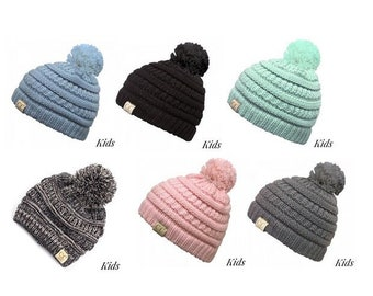 41231a237b76fc Monogrammed Pom Pom CC Beanie - Kids Size - Embroidered Name or Initials