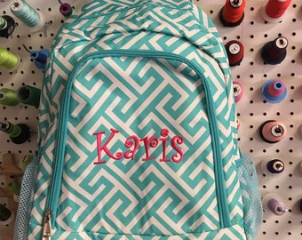 Personalized Aqua Greek Key School Size Backpack Book Bag - Monogrammed Name  or Initials or Word 7dde0915ad104