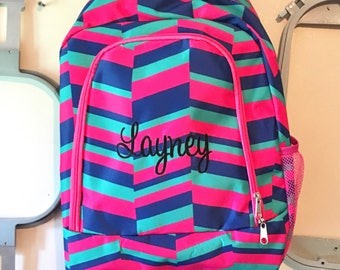 Personalized Fuchsia Pink Aqua and Blue Geometri Girly Print School Size  Backpack Book Bag - Monogrammed Name or Initials or Word 86f1136dc1ee3