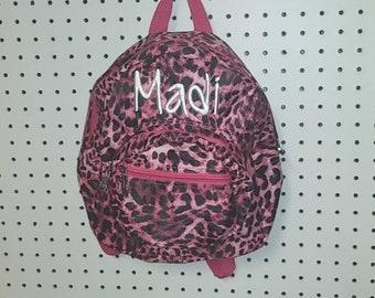 Monogrammed Mini Toddler backpack - Pink Animal Print - Leopard Cheetah 3154ddca93760