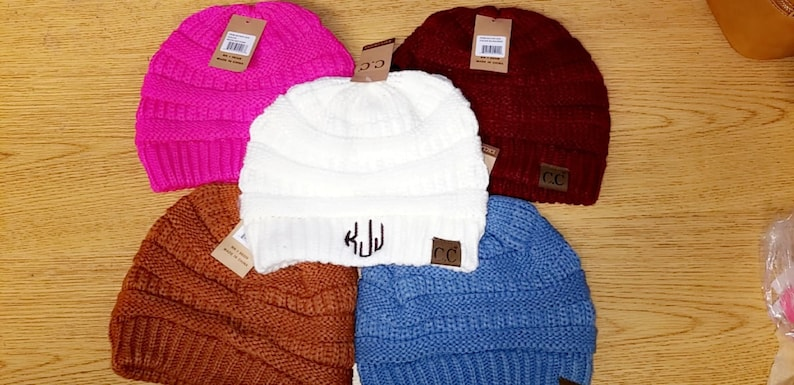 48cbe16225be2 Monogrammed CC Beanie Adult Size Embroidered Initials In