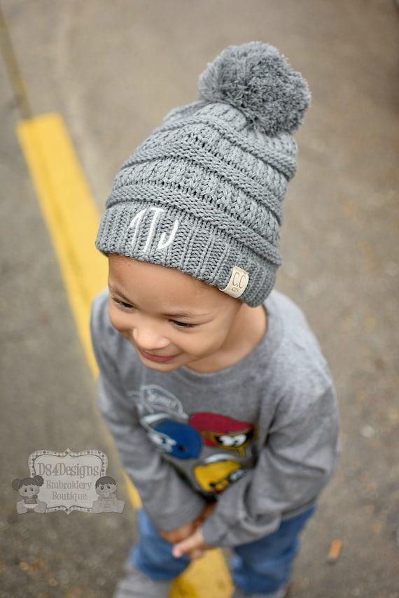 496760418c9c55 Monogrammed Pom Pom CC Beanie Kids Size Embroidered Name | Etsy