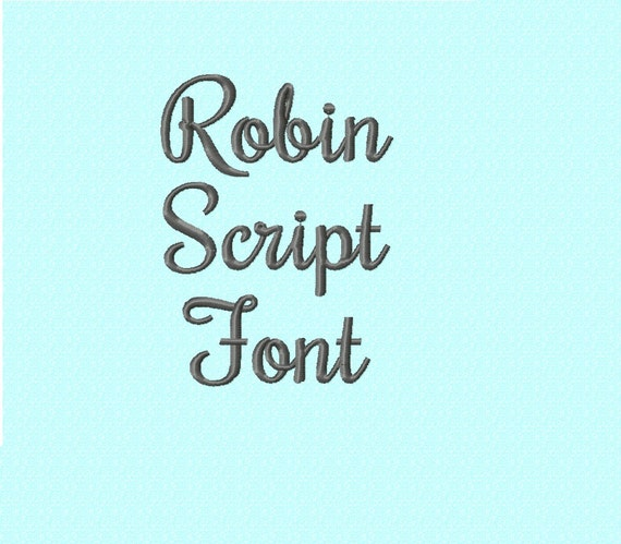 robin script cursive embroidery font instant download 2 etsy