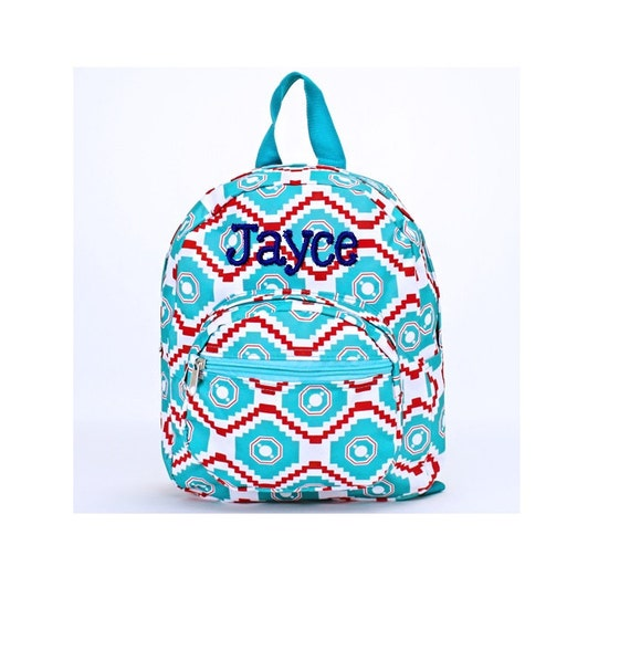 Monogrammed Mini Toddler Backpack Personalized Aqua Red  2bb7d9a36a684
