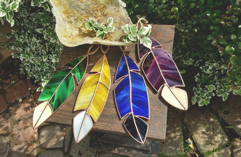 Medium Handmade Stained Glass Feather image 0