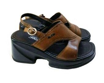 90s Brown Platform Sandals Size 38