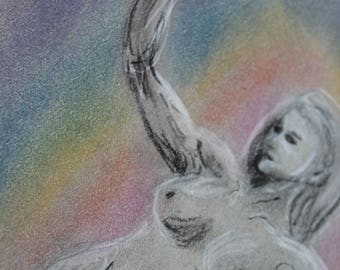 Dancing Rainbow Woman in Pastels, Original sketch