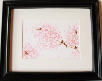 Birds in Spring on Pink