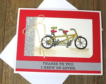 Thank you Bicycle Card: Handmade, Thank to you I grew up Love