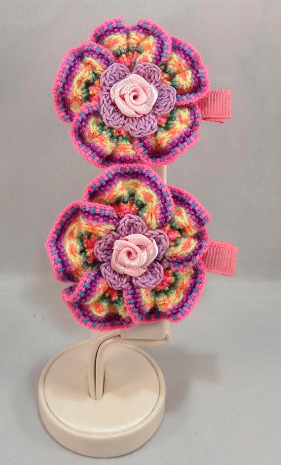 Clothing, Shoes & Accessories Girls' Accessories Handmade Pink Crochet Hair Clip For Girls Beautiful In Colour