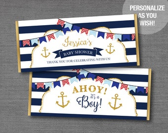 Nautical Gold Glitter and Navy Chocolate Bar Wrapper Personalized, Hersheys Wrapper, Boy, Girl, Anchor, Baby Shower, Party Favors, 1N