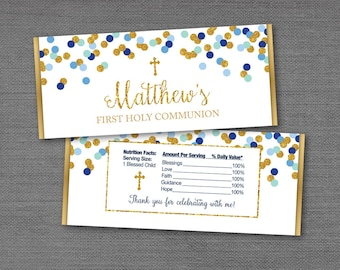Confetti Cross Chocolate Bar Wrapper Blue Green Gold, Hershey's Wrapper, Candy Wrapper, Baptism, Communion, Confirmation, Boy, 18G