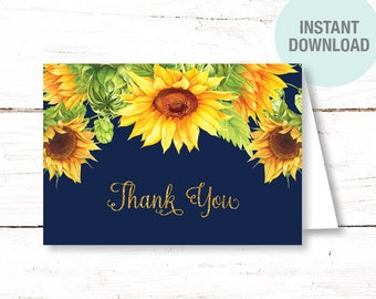 Sunflowers Thank You Card Folded, Instant Download, Bridal Shower, Baby Shower, Wedding, Birthday Party, 40S, 1A