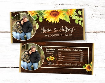 Sunflowers Chocolate Bar Wrapper Personalized, Wedding Shower, Wedding, Hershey's Bar Wrapper, Candy Bar Wrapper, 42S