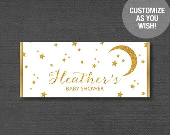 Gold Glitter and White Stars Candy Bar Wrapper Personalized, Baby Shower Printable, Customized, Hersheys Wrapper, Moon, Birthday Party, 2S