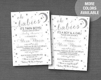 Stars Silver Glitter Twin Baby Shower Invitation, Twin Boys, Twin Girls, Twin Boy and Girl, Moon, Twinkle Twinkle, Printable, Printed, 5S