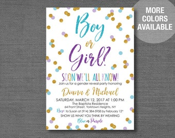 tutus and ties gender reveal invitation printable pink blue etsy