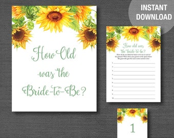 e17c3518013 Sunflowers How Old Was The Bride To Be Bridal Shower Game Printable