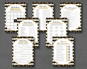 gold glitter and black bridal shower game pacakage deal seven games printable instant download black and gold black and white 9g