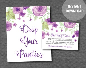 Purple Watercolor Floral The Panty Game Printable Bridal Shower Game, Drop Your Panties, Lingerie Shower, Instant Download, Flowers, 007A