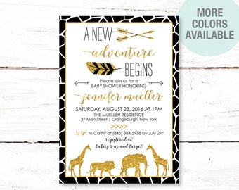 Safari Black and Gold Glitter Baby Shower Invitation Printable, Jungle, Baby Shower Invite, Giraffe, Elephant, Lion, Black and Gold, 11S