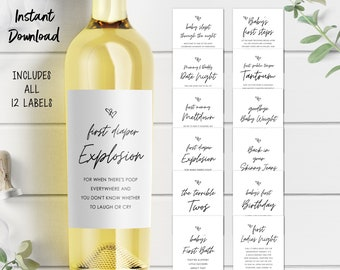 Mommy Milestone Wine Bottle Labels, Instant Download, Printable, Set of 12, Baby Shower Gift, Baby Shower Ideas, 2M