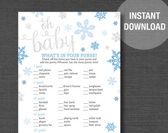 Snowflakes What's In Your Purse Baby Shower Game Printable Blue and Silver Glitter, Boy, Blue and Grey, Winter, Baby It's Cold Outside, 8C