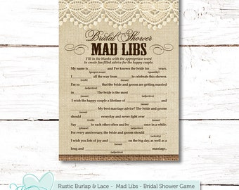 rustic burlap and lace mad libs bridal shower game printable getting married tying the knot engaged bride to be country western 3r