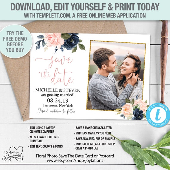 Floral Blush and Navy Save The Date Card or Postcard with Photos Printed or Digital File 6F Rose Gold Gold Save Our Date Card Pictures
