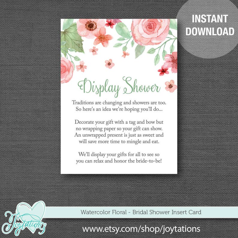 40e47116f83 Watercolor Floral Display Shower Card Printable Bridal Shower