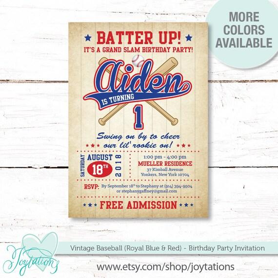 Vintage Baseball Birthday Invitation Printed Or Digital File Royal