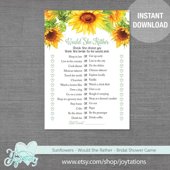 Sunflower Would She Rather Bridal Shower Game Printable