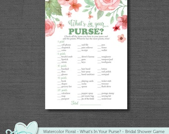 What's In Your Purse Bridal Shower Game, Printable Bridal Shower Game, Instant Download, Watercolor Floral, Flowers, Activity, 005A