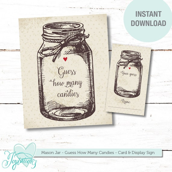graphic regarding Guess How Many in the Jar Printable referred to as Mason Jar Wager How Quite a few Candies, Boy or girl Shower Recreation, Bridal