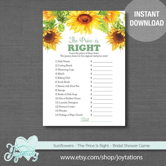 7ee6b13f52a2 Sunflowers The Price Is Right Bridal Shower Game Printable
