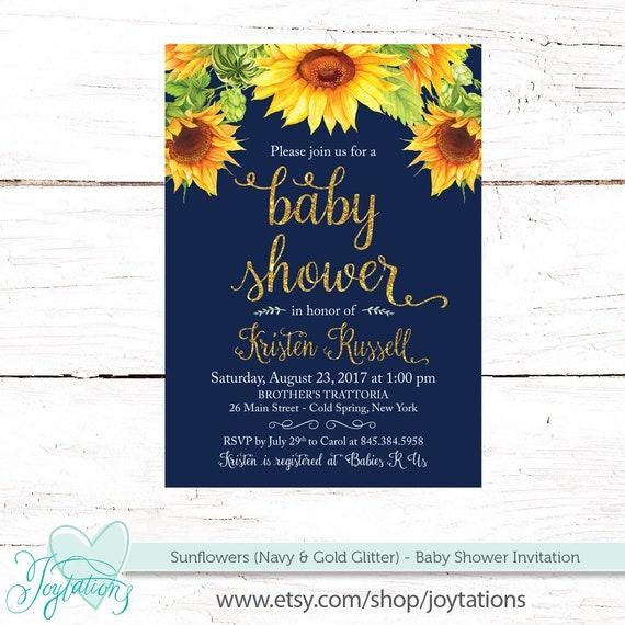 Sunflower Baby Shower Invitation Navy And Gold Glitter Baby