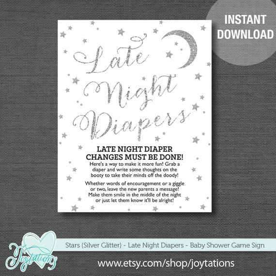 graphic relating to Late Night Diaper Sign Free Printable known as Silver Glitter Celebs Late Night time Diapers Kid Shower Sport