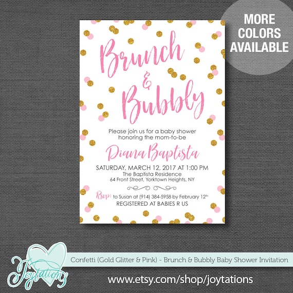 brunch and bubbly baby shower invitation printable gold glitter and