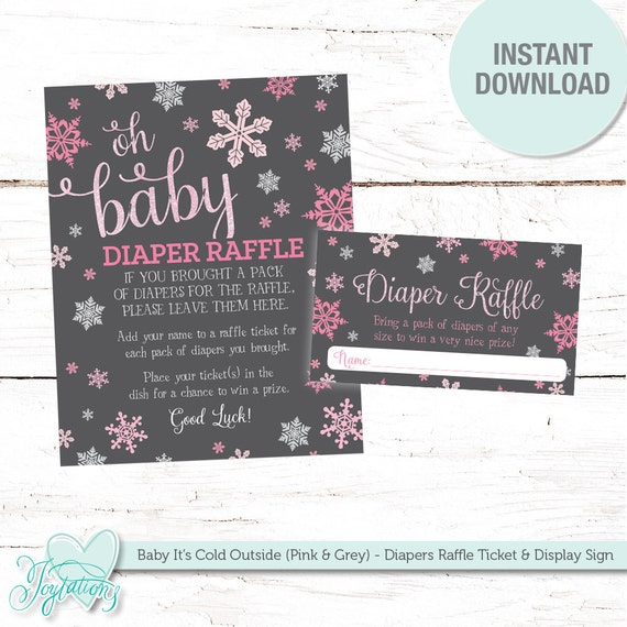 baby it s cold outside diaper raffle ticket insert card and sign