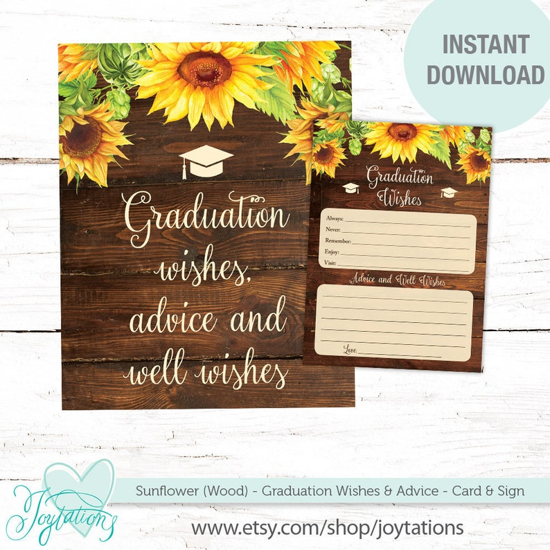 Sunflowers Graduation Wishes Advice and Well Wishes Card and Sign, College,  High School, Graduate, College, Printable, Wood, Flowers, 43S