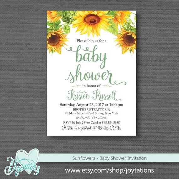 Sunflowers Baby Shower Invitation Printable Baby Shower Invite Yellow Boy Girl Gender Neutral Sunflower Invitation 1a
