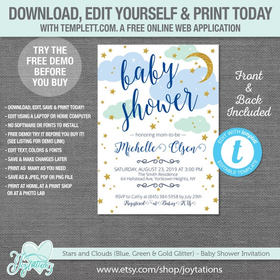 Editable Stars And Clouds Baby Shower Invitation Template
