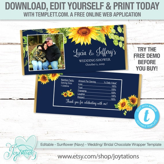 wedding shower bridal shower YOU PRINT fit over 1.55 oz chocolate bars Photo Candy Wrappers Wedding Candy Wrappers CUSTOM design