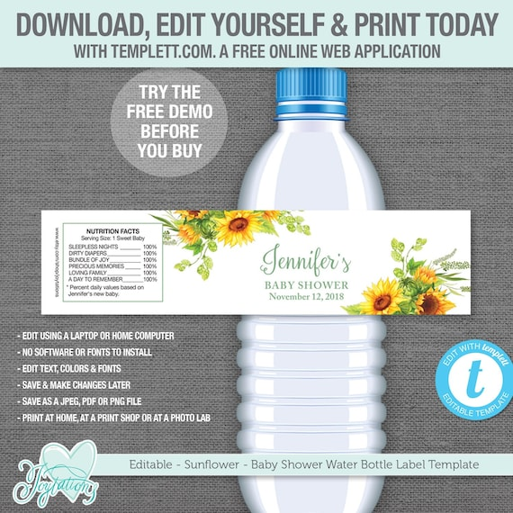 This is a photo of Free Printable Water Bottle Labels for Baby Shower with personalized
