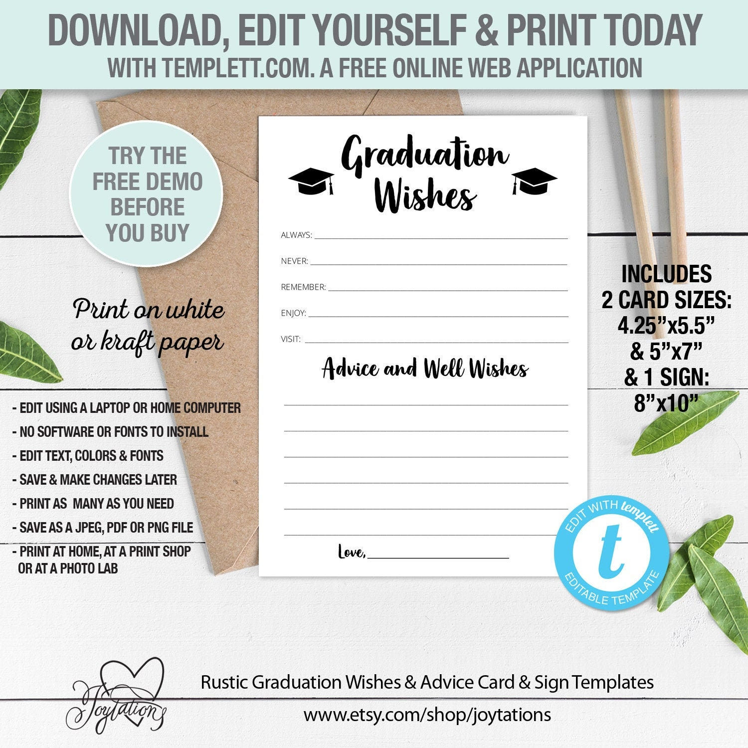 Graduation Wishes Advice And Well Wishes Card And Sign Etsy