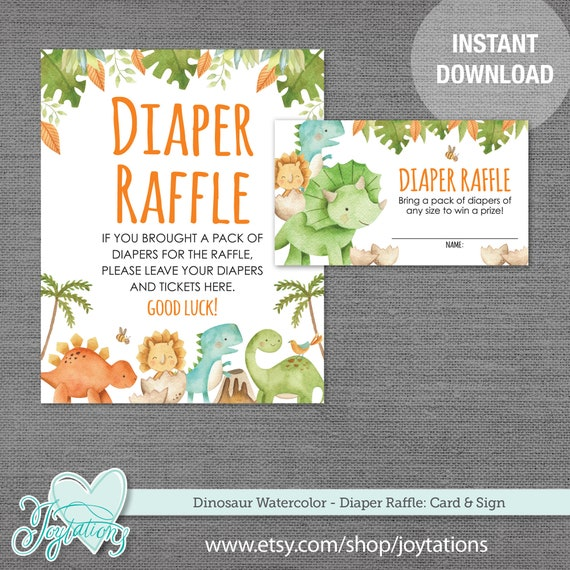 Dinosaur Diaper Raffle Card And Sign Baby Shower Game Boy